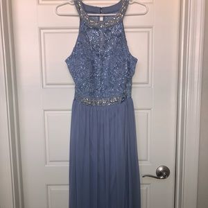 Periwinkle High Neck Detailed Gown